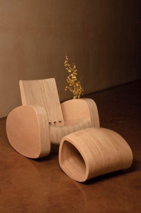 Inertia Rocker And Ottoman By Aren Irwin: Wood Rocking Chair   Artful Home  On Wanelo