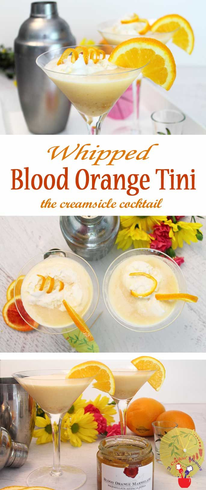 Our Whipped Blood Orange Tini tastes just like a creamy, ice cold creamsicle. The perfect summer cocktail combo of vodka, triple sec, blood orange marmalade, OJ & whipped cream. #sponsored via @2CookinMamas