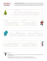 Christmas tracing words practice. Your child will be writing his own holiday cards in no time!