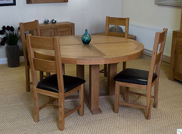 palma 150cm solid oak chunky round table with 4 oakland chairs