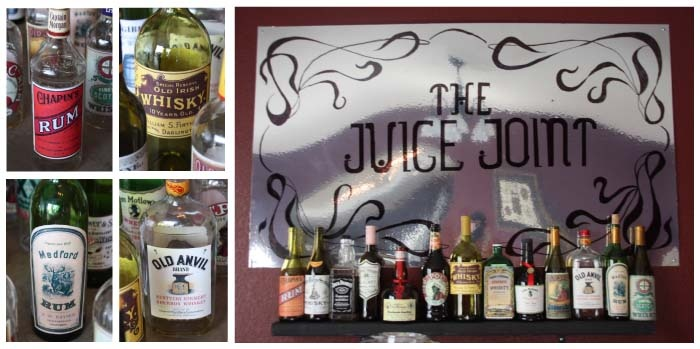 Create your own old-time bar with old liquor labels - designs and instructions included when you order Murder at The Juice Joint!