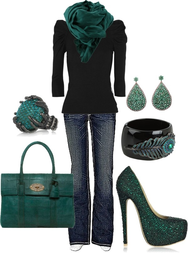 """""""Never too many sparkles"""" by sandysue72 on Polyvore: Shoes, Colors Combos, Dreams Closet, Emeralds Green, Colors Schemes, Casual Outfits, Shades Of Green, Dark Teal, Black"""