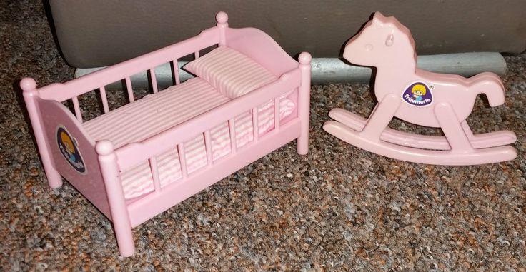 Träumerle Paradies Puppenstuben Möbel Vintage Kinderzimmer Bett Schaukelpferd