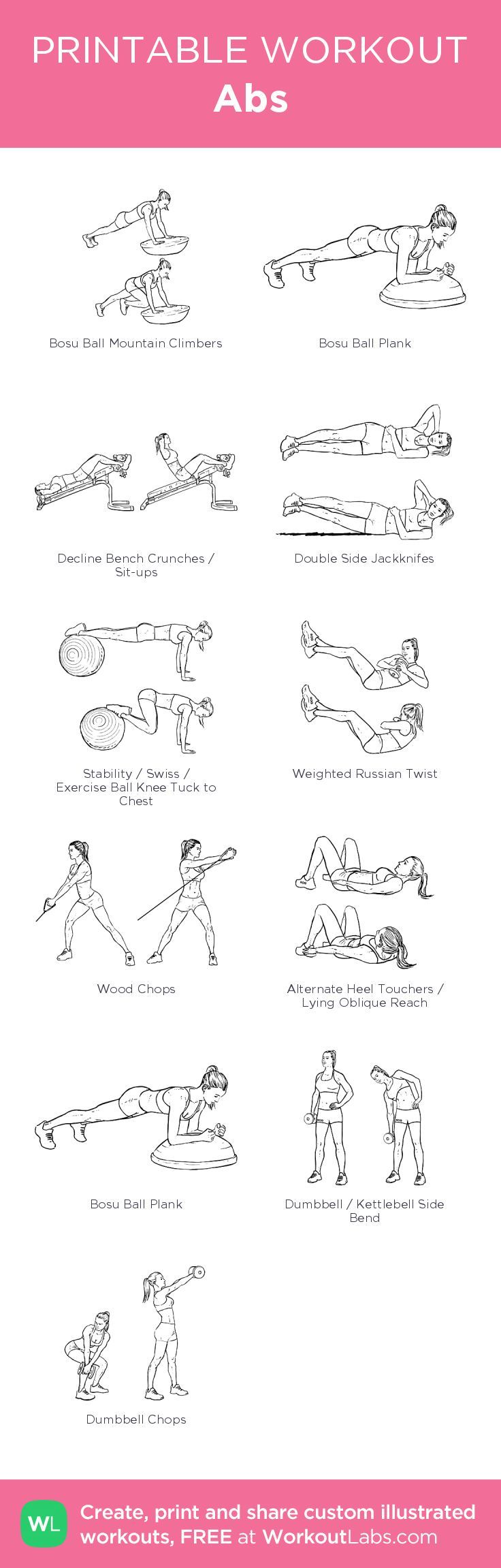 Abs–my custom exercise plan created at WorkoutLabs.com • Click through to download as a printable workout PDF #customworkout