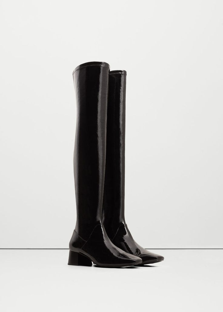 Over-the-knee patent finish boots - Woman