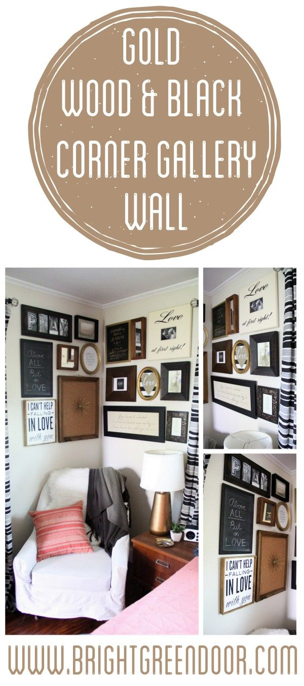 Black, Wood, and Gold Modern Gallery Wall