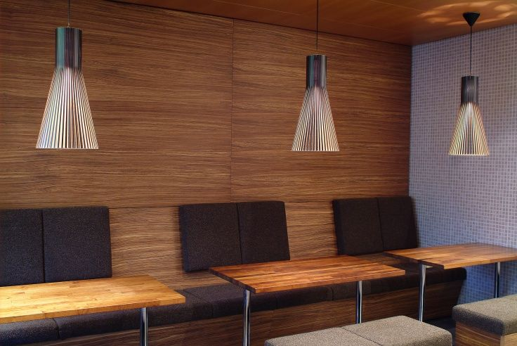 Black Secto 4200 pendants at Cafe Picnic in Helsinki, Finland. Photo by: Lasse Keltto. www.sectodesign.fi