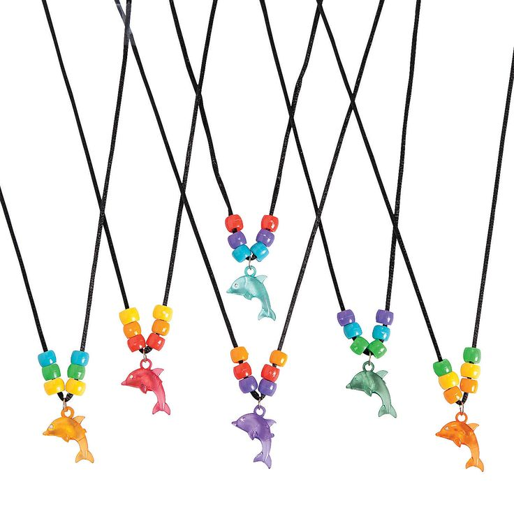 Beaded Dolphin Necklace Craft Kit - OrientalTrading.com