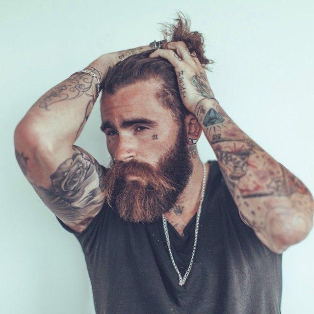 Chris Perceval - full thick beard big mustache beards bearded man men mens' style tattoos tattooed #beardsforever