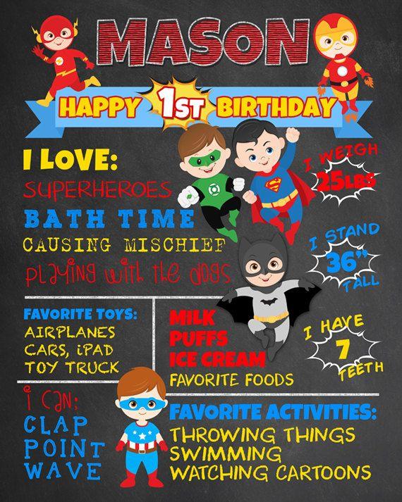 First Birthday Chalkboard Superheroes Party. Boy 1st Birthday Chalk Board Custom Printable. Batman Iron Man Flash Green Lantern Superman