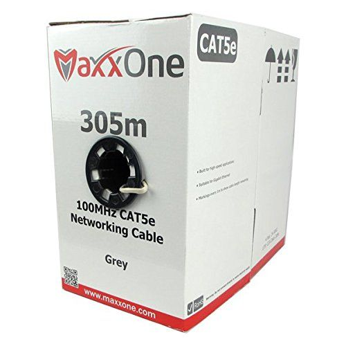 Maxxone Cat5e Indoor Ethernet Rj45 1000foot Cca Internet Router Web Networking Patch Lead / Local Area Network Cable 305metres Grey