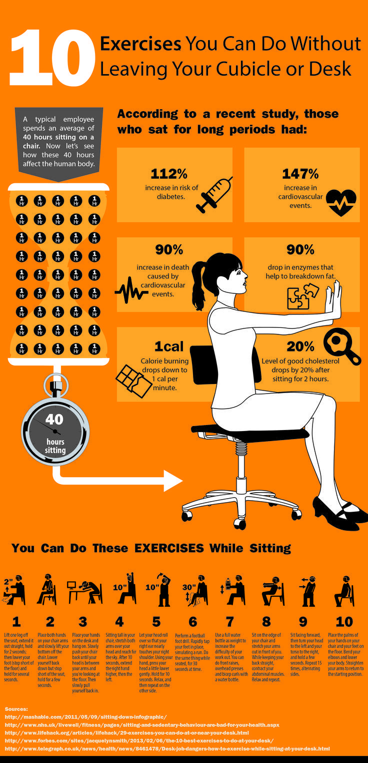 Have You Heard It S Really Not Healthy To Sit At Your Office Desk All Day In The Same Position Try 10 Easy Ways To Get Workout At Work Easy Workouts Exercise