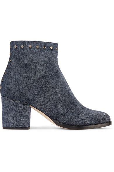 Jimmy Choo - Melvin Studded Printed Leather Ankle Boots - Indigo - IT