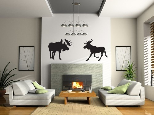 Moose: Decor, Modern Fireplaces, Ideas, Fireplaces Design, Living Rooms, Living Room Design, Livingroom, Wall Decals, Home Interiors Design