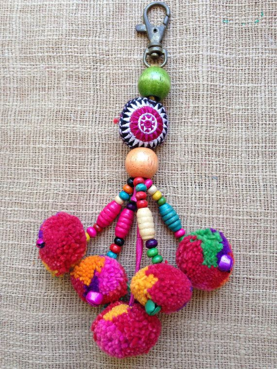 Hmong handmade fabric beaded pompom charm x 5 by KutchiKooTribe
