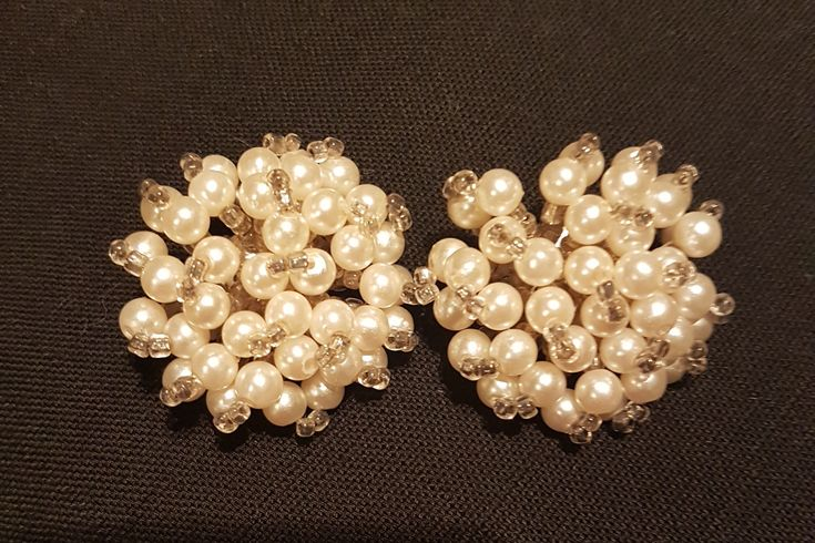 Vintage Pearl Glass Bead Earrings Clip On