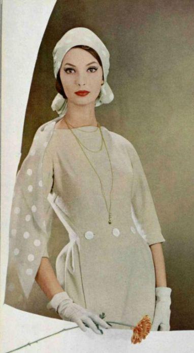 1958 Dress/ Lanvin 50s 60s tan white sheath dress hat turban gloves buttons dots color photo print ad model magazine vintage fashion style