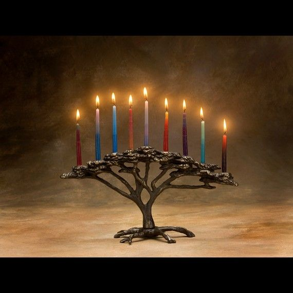Sand-cast bronze Hanukkah menorah, inspired by the African Acacia tree. Fully 3D (no flat back side) to use in table center. From Scott Nelles Studios.