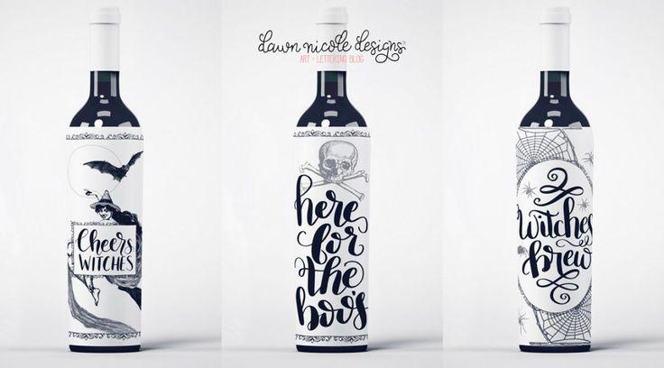 Free Printable Halloween Wine Bottle Labels