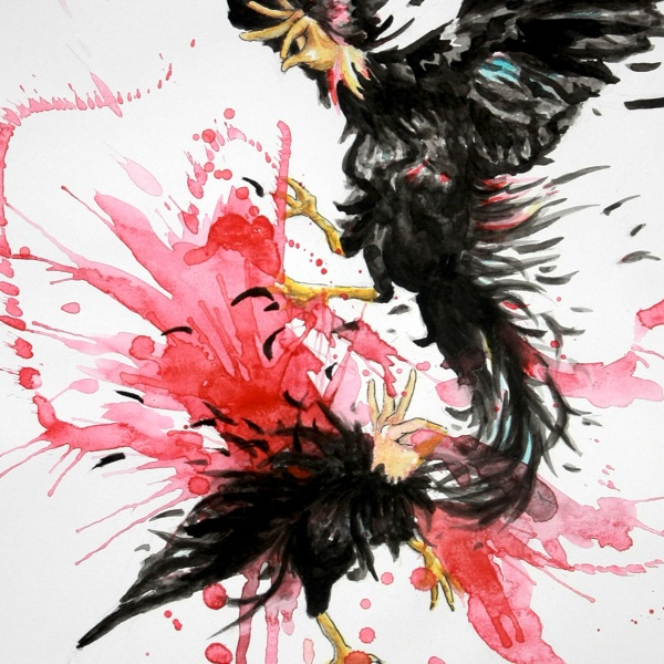 Rooster fight a la #Indonesia, #art piece by Rssa Rese.