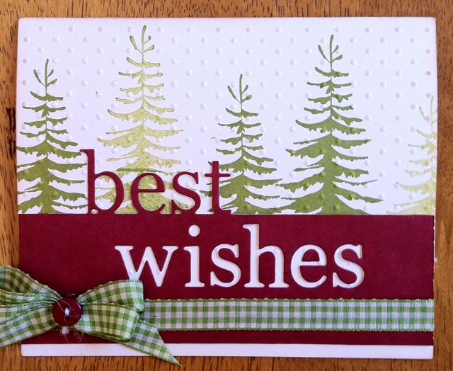 """Memory Box """"Grand Best Wishes"""" die and """"Forest Pine"""" stamp. Card by DT member Donna."""