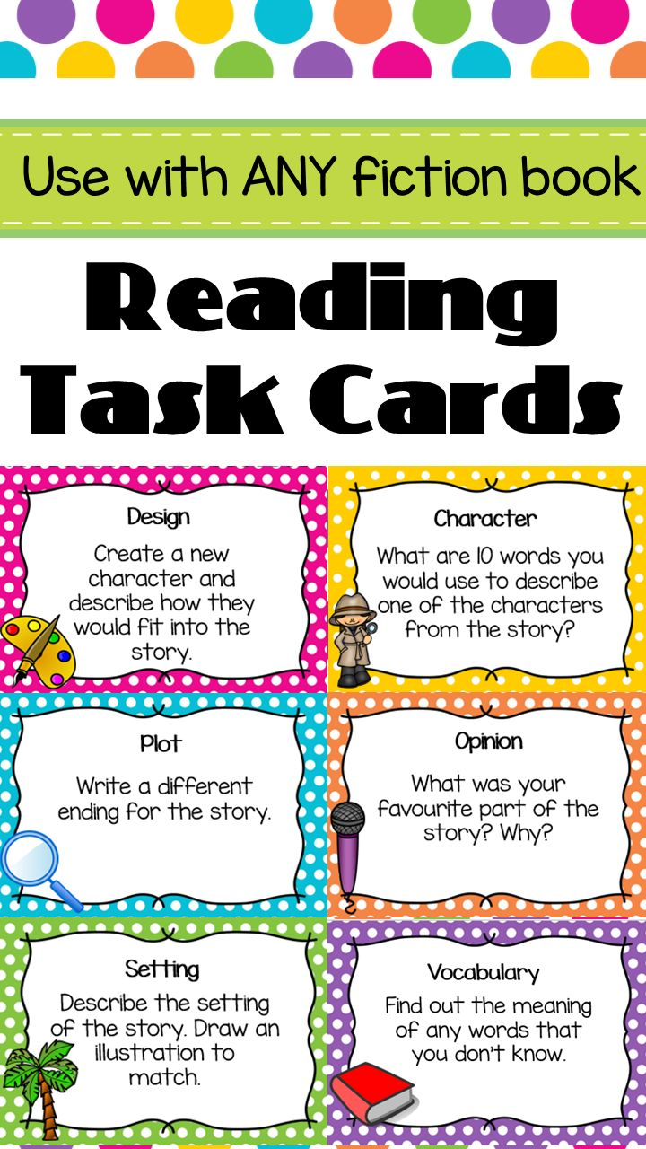 Reading Task Cards. Great for guided reading. Includes 44 questions- character, setting, plot, opinion, vocabulary and design.