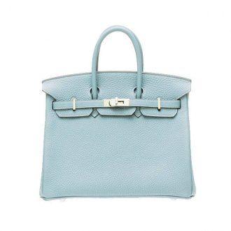 Hermes Birkin Bag 25 Ciel/Sky Blue Togo Leather Silver Hardware