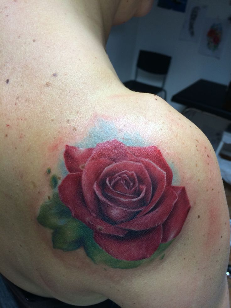Red rose Tattooed by black apple tattoo