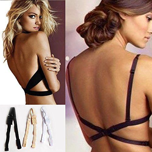 4 COLOR VARIETY PACK - LOW BACK CONVERTER BRA STRAPS (WHITE, BLACK, NUDE, & CLEAR)