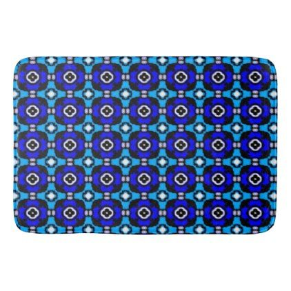 Parquet Tile Pattern in Turquoise and Cobalt Blue Bathroom Mat - classic gifts gift ideas diy custom unique