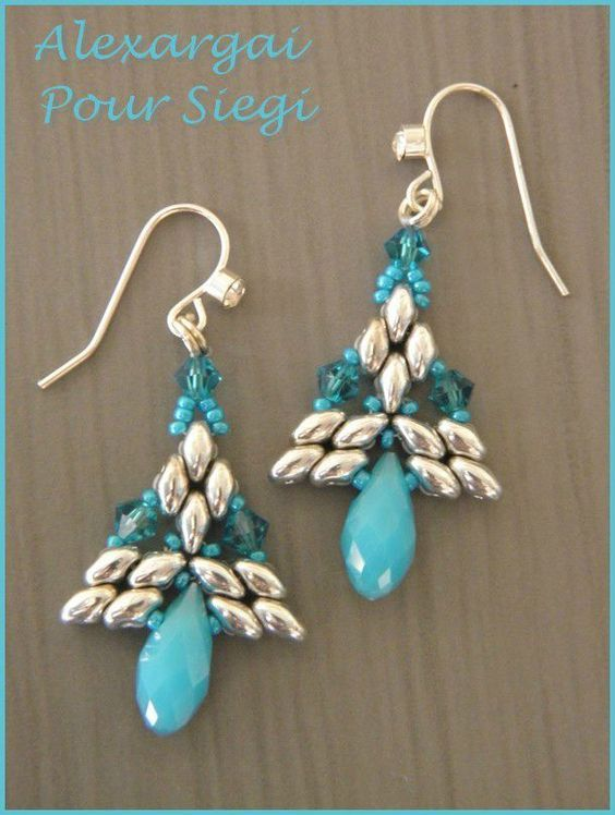 Image result for christmas tree earrings with superduos