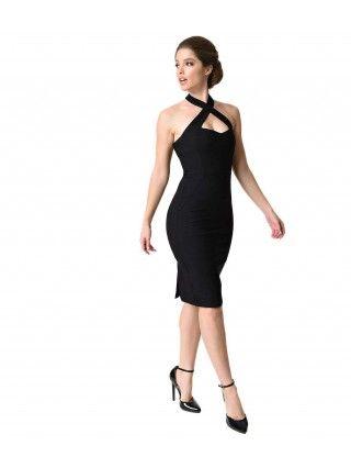 Women's Black Criss Cross Halter Penelope Wiggle Dress