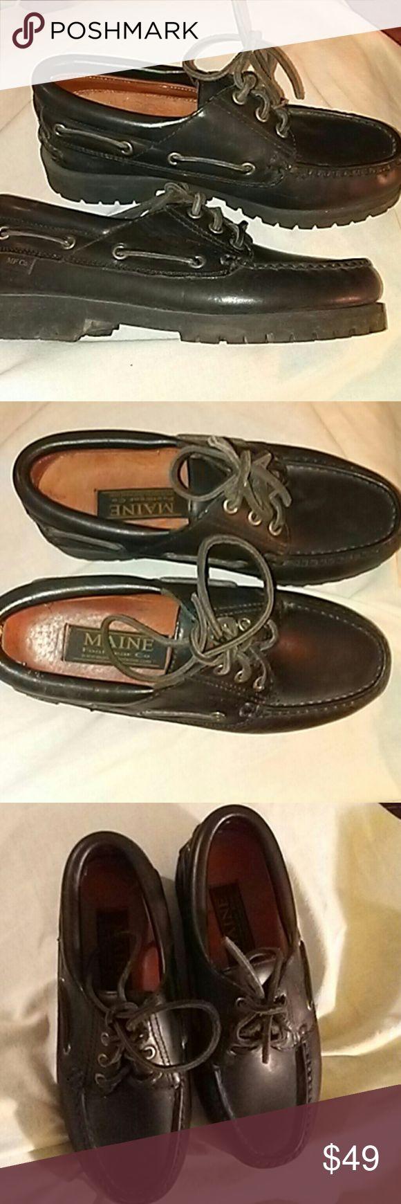 Maine Footwear Company Black leather Boat Shoes New never worn Maine Footwear Company High Grade Leather boat shoes docksiders maine manufacturing company   Shoes Flats & Loafers