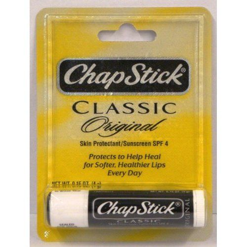 ChapStick Classic Original Skin Protectant / Sunscreen SPF 4, 0.15 Ounces (Pack of 6). Provides everyday year round Moisturization and protection for great lip health and lip feel. ChapStick Classic Original Skin Protectant / Sunscreen SPF 4 Helps prevent and temporarily protects chafed, chapped or cracked lips. Helps prevent and temporarily protects chafed, chapped or cracked lips. Helps prevent and protects from the drying effects of wind and cold weather. Helps prevent sunburn.