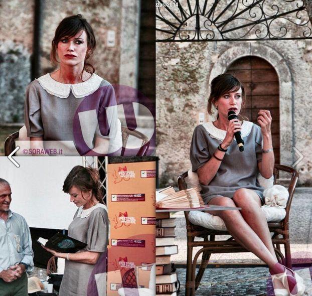 """L'attrice e scrittrice Giorgia Wurth alla presentazione del suo nuovo libro """"l'accarezzatrice"""" veste un abito Princesse Metropolitaine. #princesse #metropolitaine #fashion #vip #dress #bonton"""
