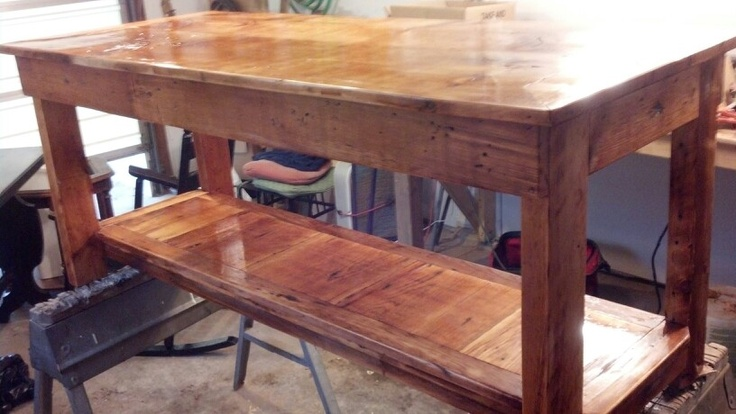 Table made from old boards off a house