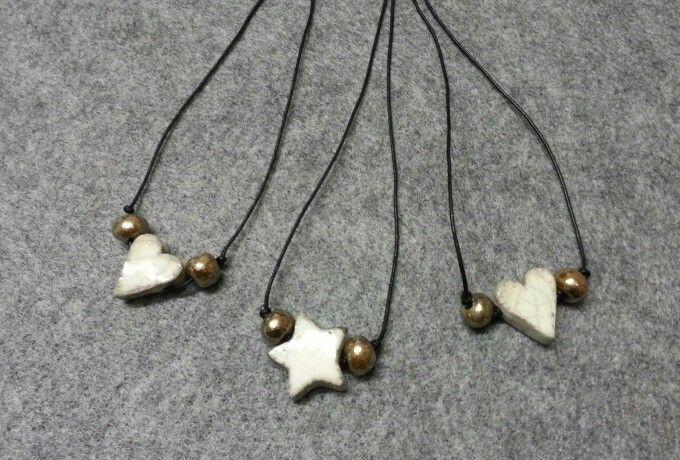 Stars and hearts necklace, raku ceramic