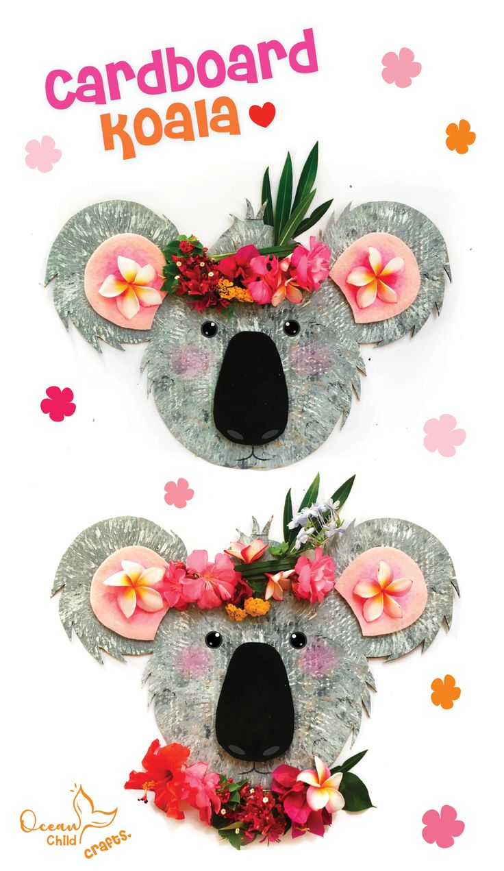 Koala craft with tropical flower crown! in 2020 Crafts