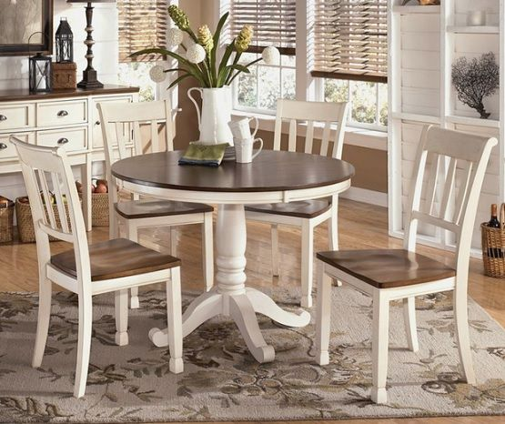 White & Brown round farmhouse dining table