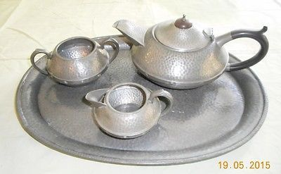 Craftsman #pewter and #bakelite #sheffield arts and crafts era tea set with tray,  View more on the LINK: http://www.zeppy.io/product/gb/2/201700260395/