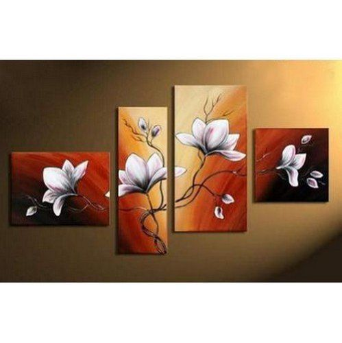 BESTSELLER! 4pics Flower in Full Bloom Abstract 100% Hand Painted Oil Painting on Canvas Wall Art Deco Home Decoration (Unstretch No F... $76.00