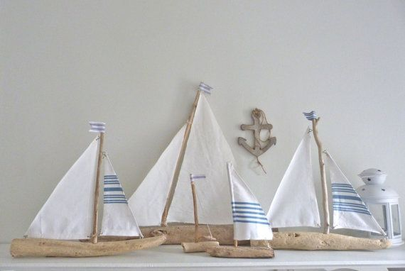 Driftwood sailboat - rustic nautical decor - driftwood sailing boat - beach…