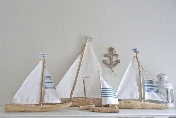 Driftwood sailboat - rustic nautical decor - driftwood sailing boat - beach…