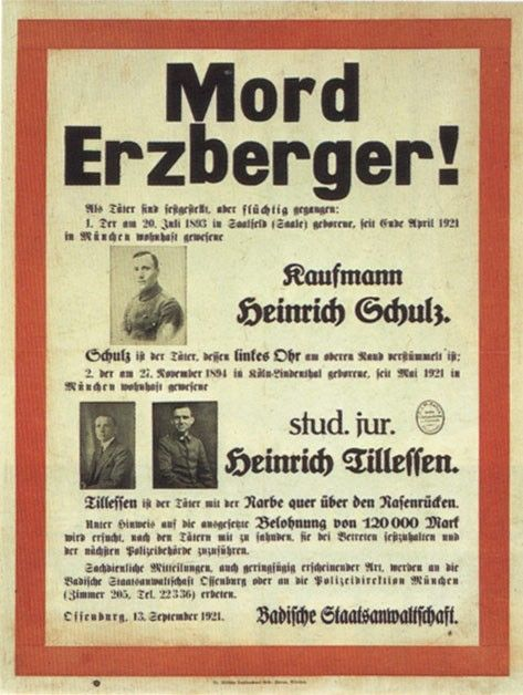 Matthias Erzberger - the German politician who had to sign the ceasefire in Compiegne/France in 1918 - was assassinated in 1921.