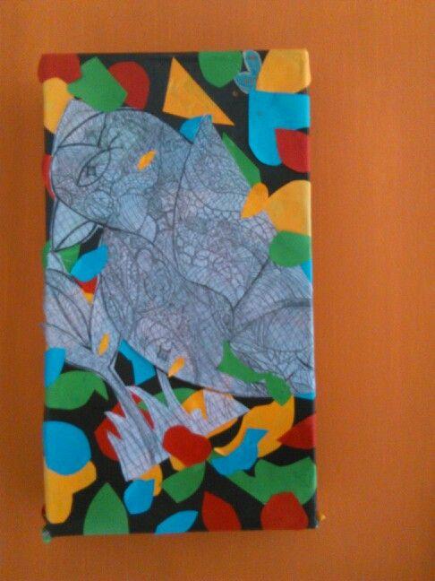 Cuadro hecho en tapas de caja de zapatos, figuras hechas en papel iris