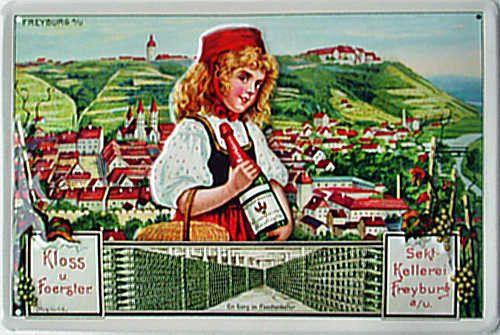 Rotkaeppchen-Sektkellerei-Blechschild-30-x-20-cm-gewoelbt-Motiv-gepraegt