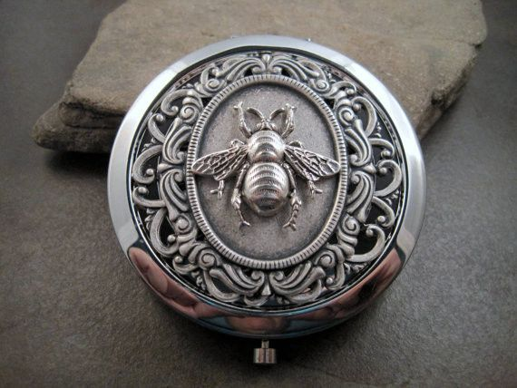 Victorian Silver Bee Steampunk Compact Mirror