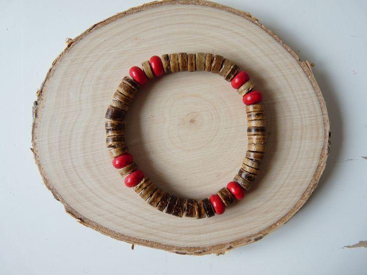 boho bracelets, red bracelet, wooden bracelet, coconut bracelet, Beaded Bracelets, stretched bracelet, Jewelry, gemstone bracelets, Howlite bracelets, mala energy reiki chakra healing jewelry, unisex jewelry, men's bracelet,