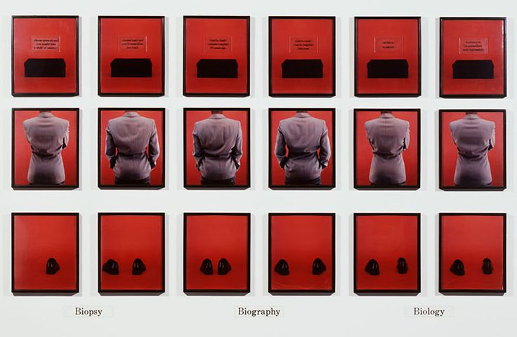 Lorna Simpson Bio, 1992, 18 Polaroid prints, 9 engraved plastic plaques. 98 x 162 inches overall.