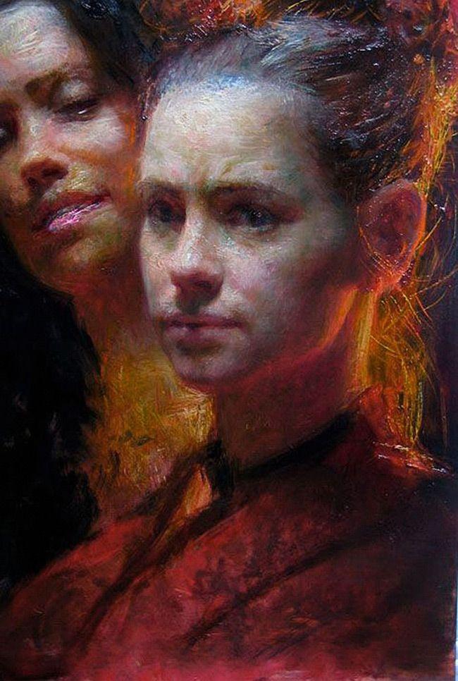 Artist: Steven Assael (b. 1957); New York {figurative art instructor female head red dress woman face portrait texture painting} stevenassael.com